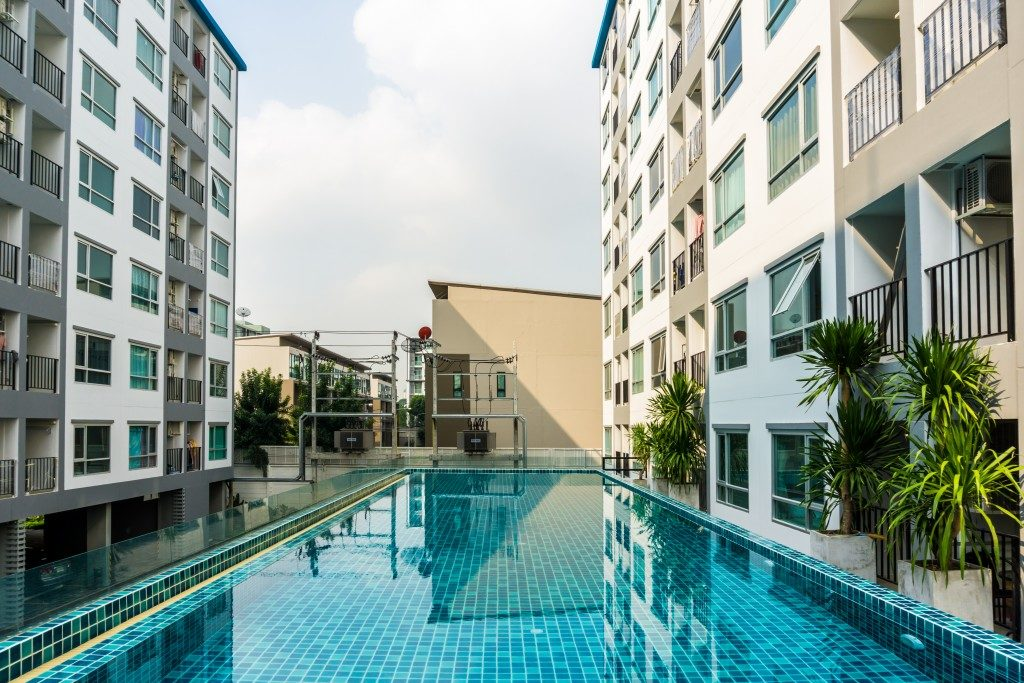 Pool among condo buildings