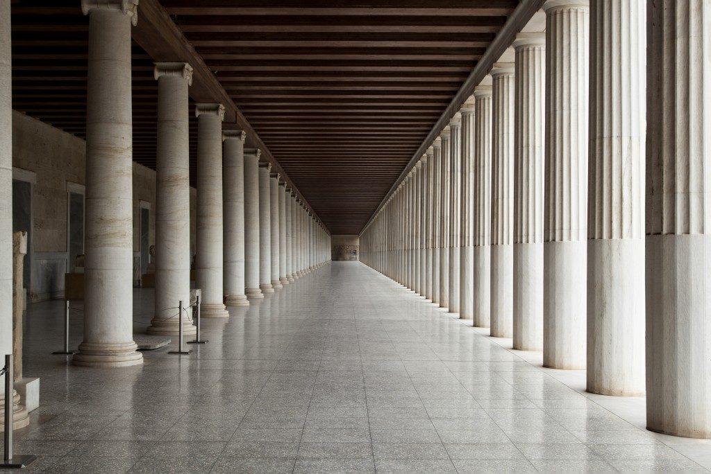 Empty temple hallway