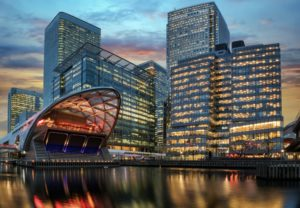 financial district Canary Wharf in London during sunset