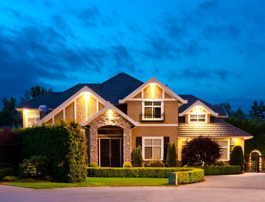 big house at night
